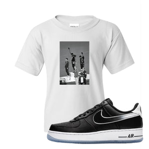 Colin Kaepernick X Air Force 1 Low Kaepernick Fist White Sneaker Hook Up Kid's T-Shirt