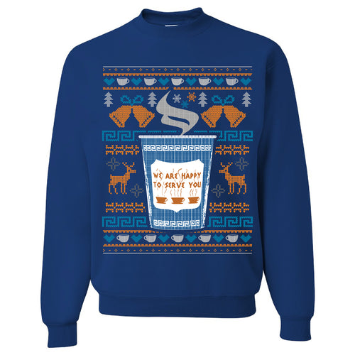 FOOT CLAN | NYC COFFEE CUP UGLY SWEATER | CREWNECK SWEATSHIRT | ROYAL BLUE
