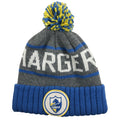 On the front raised cuff of the San Diego Chargers winter knit beanie is a Chargers patch in white, blue, and yellow