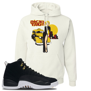 Dick's Taxi Co White Pullover Hoodie To Match Jordan 12 Reverse Taxi Sneakers
