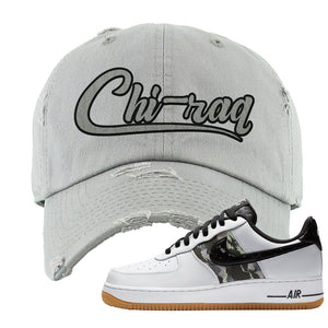 Air Force 1 Low Camo Distressed Dad Hat | Chiraq, Light Gray