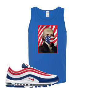 Air Max 97 USA Tank Top | Royal Blue, Thomas & Jefferson Mask