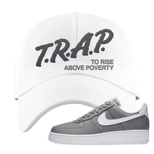 Air Force 1 Low Wolf Grey White Dad Hat | White, Trap To Rise Above Poverty