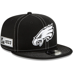 Men's Philadelphia Eagles New Era Black 2019 NFL On Field Sideline Road 9FIFTY Snapback Hat