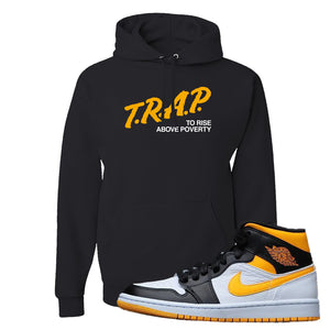Air Jordan 1 Mid Varsity Yellow Black Hoodie | Black, Trap To Rise Above Poverty