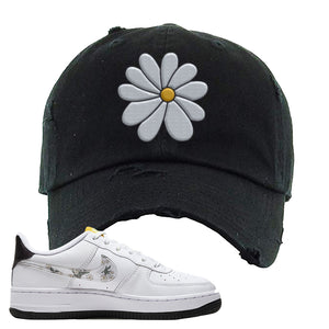 Air Force 1 Distressed Dad Hat | Black, Daisy Flower