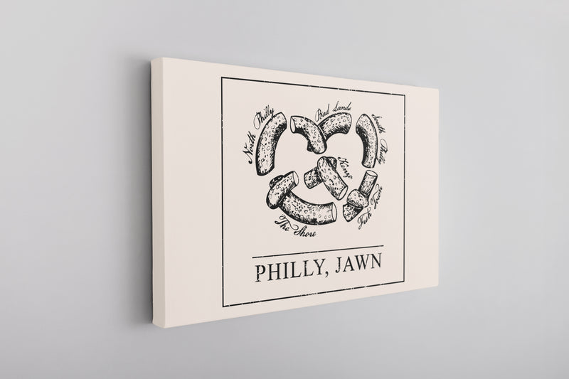Philly Jawn Canvas | Philly Jawn Pretzel Natural Wall Canvas the front of this canvas has the philly jawn pretzel