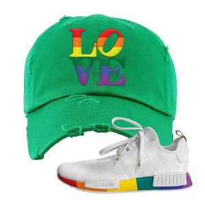 NMD R1 Pride Distressed Dad Hat | Kelly Green, Love Park
