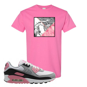 WMNS Air Max 90 Rose Pink Marble Mosaic Azalea T-Shirt To Match Sneakers