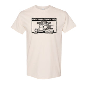 Concrete Charlie's T-Shirt | Chuck Bednarik's Concrete Mix Natural T-Shirt the front of this shirt has the concrete company