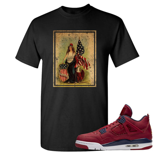 Jordan 4 FIBA Lady Liberty Shield Black Sneaker Matching Tee Shirt