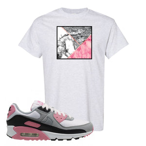 WMNS Air Max 90 Rose Pink Marble Mosaic Ash T-Shirt To Match Sneakers
