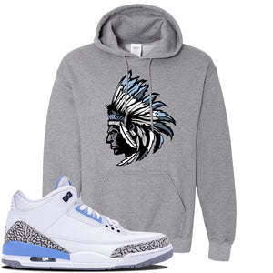 Jordan 3 UNC Sneaker Graphite Heather Pullover Hoodie | Hoodie to match Nike Air Jordan 3 UNC Shoes | Indian Chief