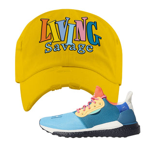 Foot Clan  Pharrel Williams X SolarHU Multicolor  Living Savage  Yellow  Distressed Dad Hat    Rock your favorite pair of kicks in style with this Pharrel Williams X SolarHU Multicolor Sneaker Yellow Distressed Dad Hat. The Living Savage logo on the front of this Pharrel Williams X SolarHU Multicolor Sneaker Yellow Distressed Dad Hat is what your sneaker matching outfit has been missing. Match your shoes today!