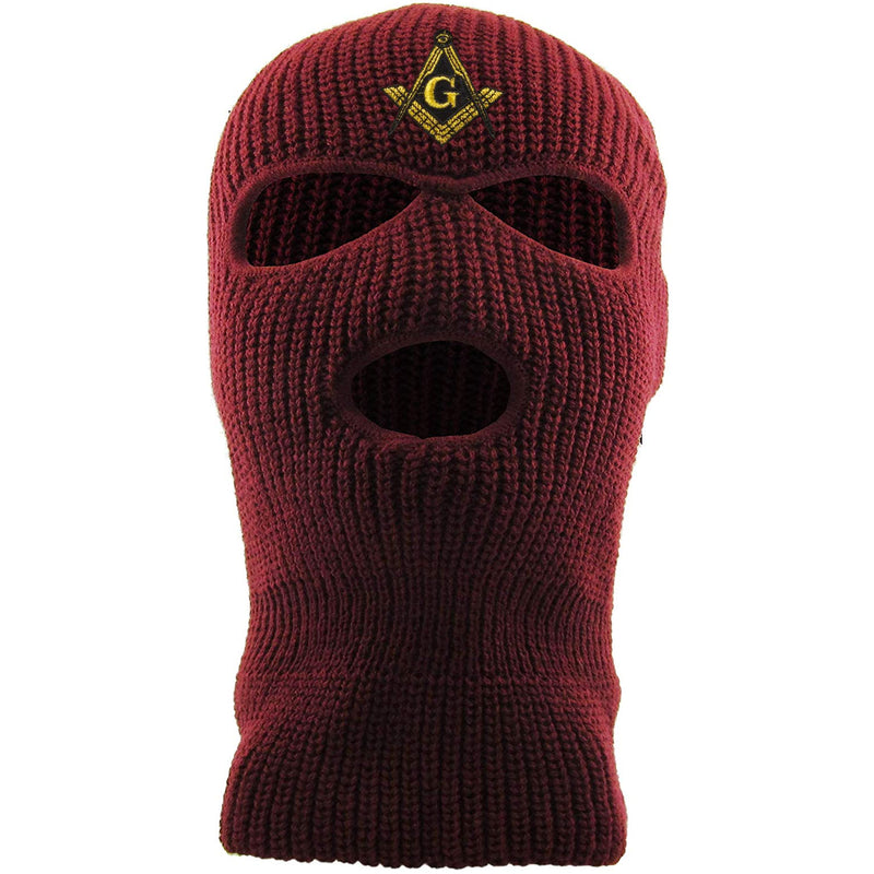 Embroidered on the front of the maroon masonic ski mask is the free mason logo embroidered in gold and black