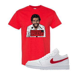 Air Jordan 1 Low White and Varsity Red T Shirt | Escobar Illustration, Red
