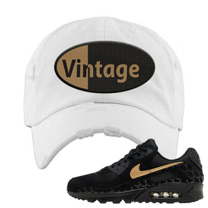 Air Max 90 Black Gold Distressed Dad Hat | Vintage Oval, White