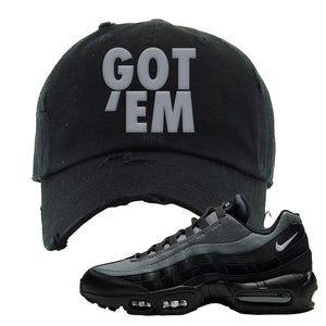 Air Max 95 Black Smoke Grey Distressed Dad Hat | Got Em, Black