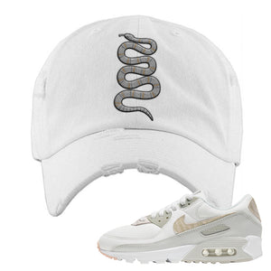 Air Max 90 Zebra Snakeskin Distressed Dad Hat | Coiled Snake, White