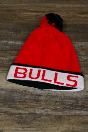 Chicago Bulls Oversized Throwback Style Mitchell and Ness Winter Beanie