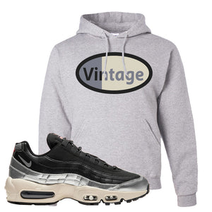 3M x Nike Air Max 95 Silver and Black Pullover Hoodie | Vintage Oval, Ash