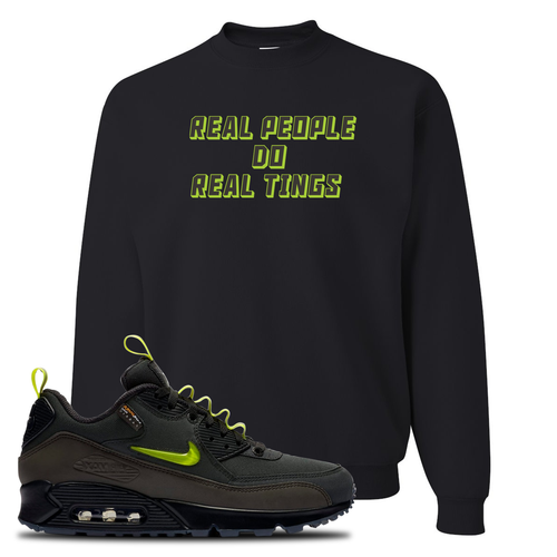 The Basement X Nike Air Max 90 Manchester Real People Do Real Things Black Sneaker Matching Crewneck Sweatshirt