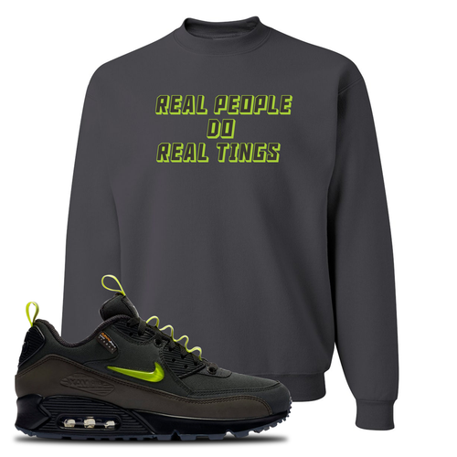 The Basement X Nike Air Max 90 Manchester Real People Do Real Things Charcoal Gray Sneaker Matching Crewneck Sweatshirt