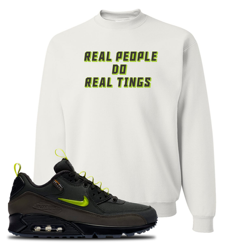The Basement X Nike Air Max 90 Manchester Real People Do Real Things White Sneaker Matching Crewneck Sweatshirt