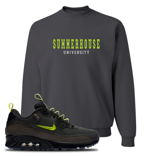 The Basement X Nike Air Max 90 Manchester Summerhouse University Charcoal Gray Sneaker Matching Crewneck Sweatshirt