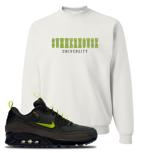 The Basement X Nike Air Max 90 Manchester Summerhouse University White Sneaker Matching Crewneck Sweatshirt