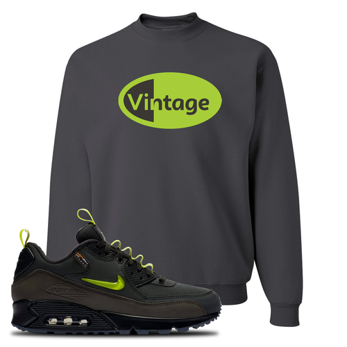 The Basement X Nike Air Max 90 Manchester Vintage Oval Charcoal Gray Sneaker Matching Crewneck Sweatshirt