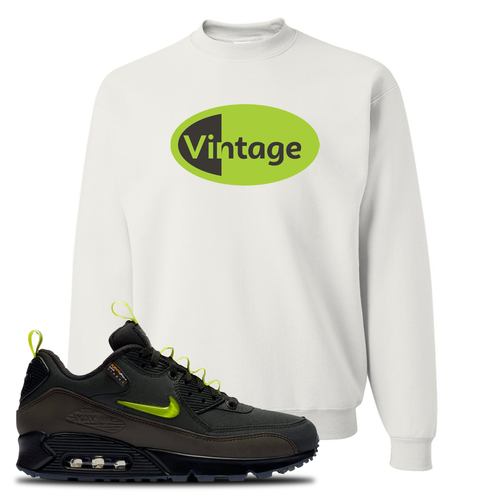 The Basement X Nike Air Max 90 Manchester Vintage Oval White Sneaker Matching Crewneck Sweatshirt