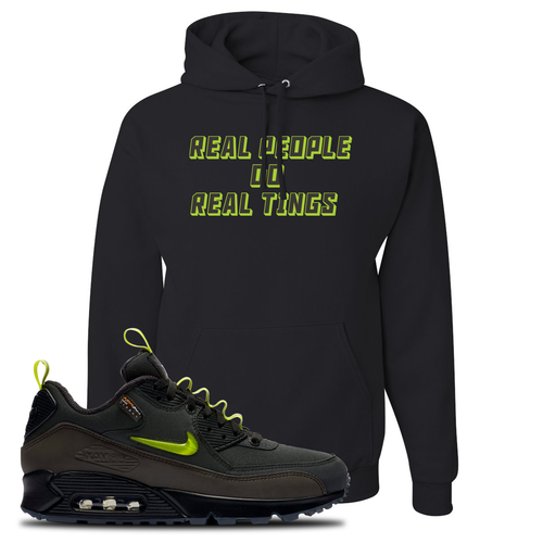 The Basement X Nike Air Max 90 Manchester Real People Do Real Things Black Sneaker Matching Pullover Hoodie