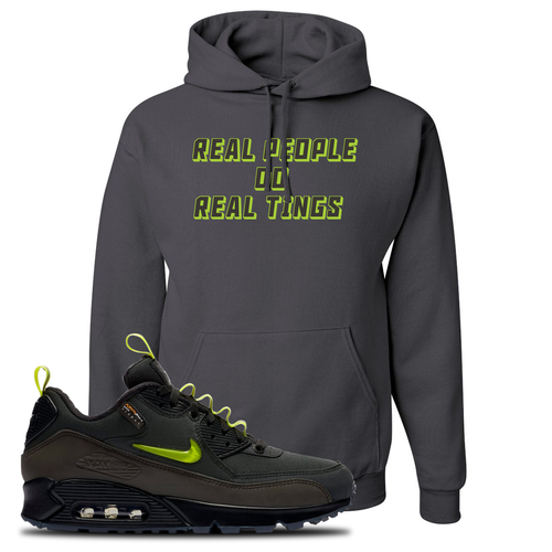 The Basement X Nike Air Max 90 Manchester Real People Do Real Things Charcoal Gray Sneaker Matching Pullover Hoodie