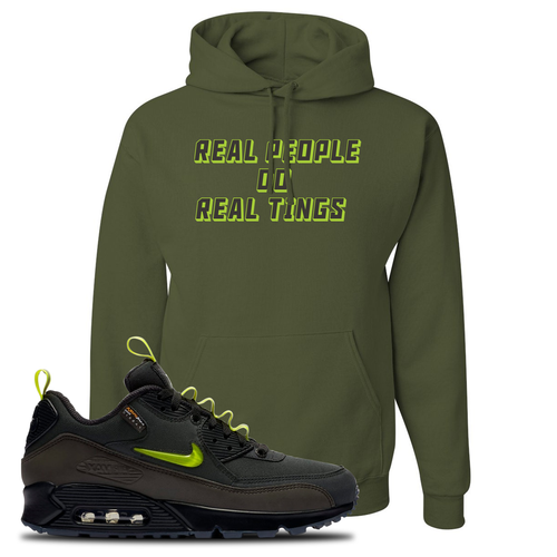 The Basement X Nike Air Max 90 Manchester Real People Do Real Things Military Green Sneaker Matching Pullover Hoodie