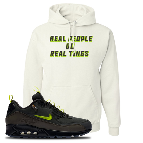 The Basement X Nike Air Max 90 Manchester Real People Do Real Things White Sneaker Matching Pullover Hoodie
