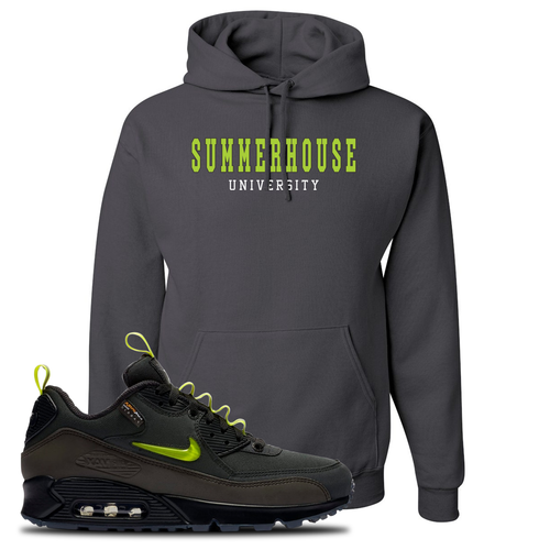 The Basement X Nike Air Max 90 Manchester Summerhouse University Charcoal Gray Sneaker Matching Pullover Hoodie