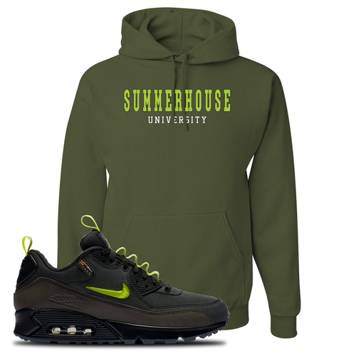 The Basement X Nike Air Max 90 Manchester Summerhouse University Military Green Sneaker Matching Pullover Hoodie