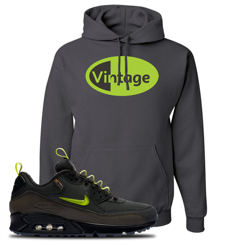 The Basement X Nike Air Max 90 Manchester Vintage Oval Charcoal Gray Sneaker Matching Pullover Hoodie
