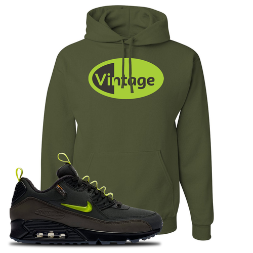 The Basement X Nike Air Max 90 Manchester Vintage Oval Military Green Sneaker Matching Pullover Hoodie