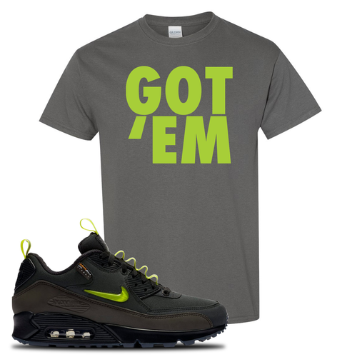 The Basement X Nike Air Max 90 Manchester Got Em Charcoal Gray Sneaker Matching T-Shirt
