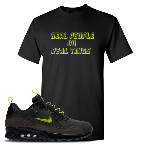 The Basement X Nike Air Max 90 Manchester Real People Do Real Things Black Sneaker Matching T-Shirt