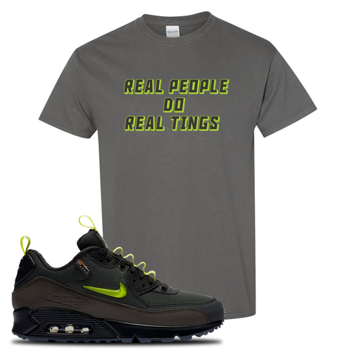 The Basement X Nike Air Max 90 Manchester Real People Do Real Things Charcoal Gray Sneaker Matching T-Shirt