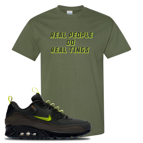 The Basement X Nike Air Max 90 Manchester Real People Do Real Things Military Green Sneaker Matching T-Shirt