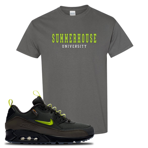 The Basement X Nike Air Max 90 Manchester Summerhouse University Charcoal Gray Sneaker Matching T-Shirt