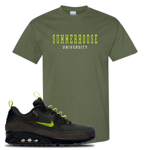The Basement X Nike Air Max 90 Manchester Summerhouse University Military Green Sneaker Matching T-Shirt