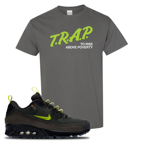 The Basement X Nike Air Max 90 Manchester Trap to Rise Above Poverty Charcoal Gray Sneaker Matching T-Shirt