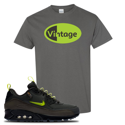 The Basement X Nike Air Max 90 Manchester Vintage Oval Charcoal Gray Sneaker Matching T-Shirt
