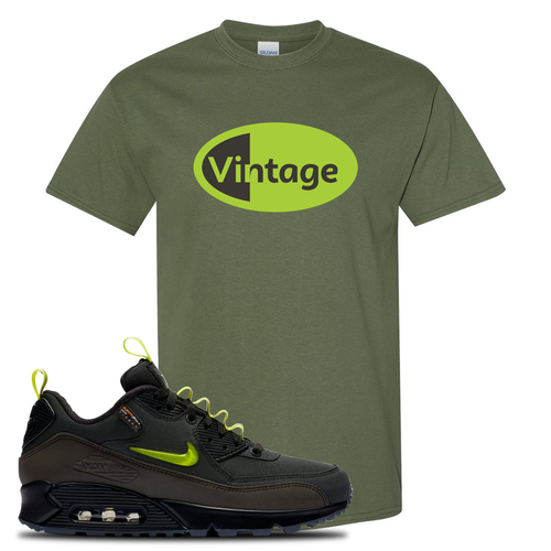 The Basement X Nike Air Max 90 Manchester Vintage Oval Military Green Sneaker Matching T-Shirt