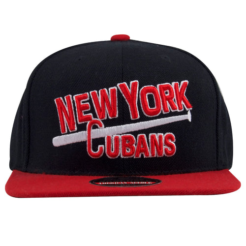 on the front of the new york cubans snapback hat is the word new york cubans embroidered in red with a white bat going down the center